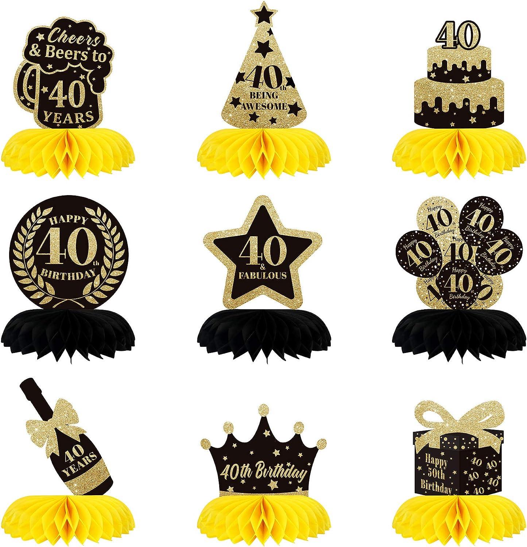 9 Pieces 40th Birthday Gorgeous Honeycomb Nashville-Davidson Mall Ha Centerpieces Glittered