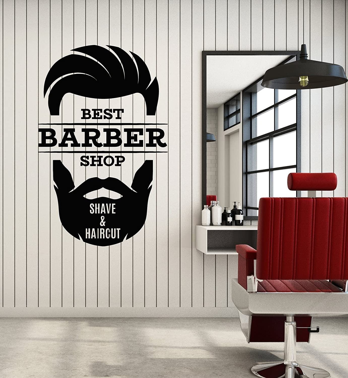 Vinyl Wall Decal Barber Shop Shave Haircut Hair Salon Logo Stickers Mural Large Decor Ig5279 Kitchen Dining