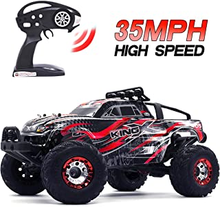 Monster Truck Remote Control Cars, Tecesy 1/12 Scale Brushless Monster High Speed RC Truck with LED, 4WD Off-Road Buggy for Adults(Red)