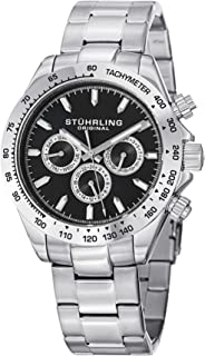 Stuhrling Original Men's 564.02 Concorso Raceway Swiss Quartz Tachymeter Day and Date Stainless Steel Bracelet Watch