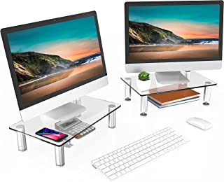 FITUEYES Dual Monitor Stand Glass Laptop Riser Desk with Height Adjustable Leg for PC/Xbox One/Flat Screen TV - 2 Pack DT1...
