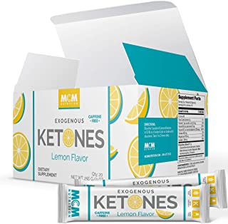 Exogenous Ketones Powder and BHB - Caffeine Free (Lemon) Suppresses Appetite - Keto Drink Mix - Fast Acting Ketosis Packets - Ketones Supplement for Ketosis (20 Keto Packets) - by MCM Nutrition
