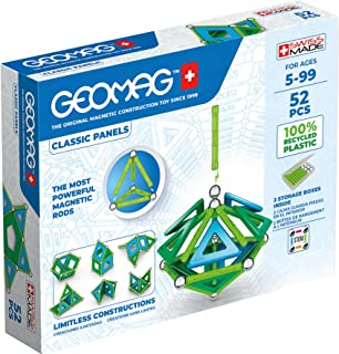 Geomag - Classic Panels 52 Pieces- Magnetic Construction for Children - Green Collection - 100% Recycled Plastic Education...