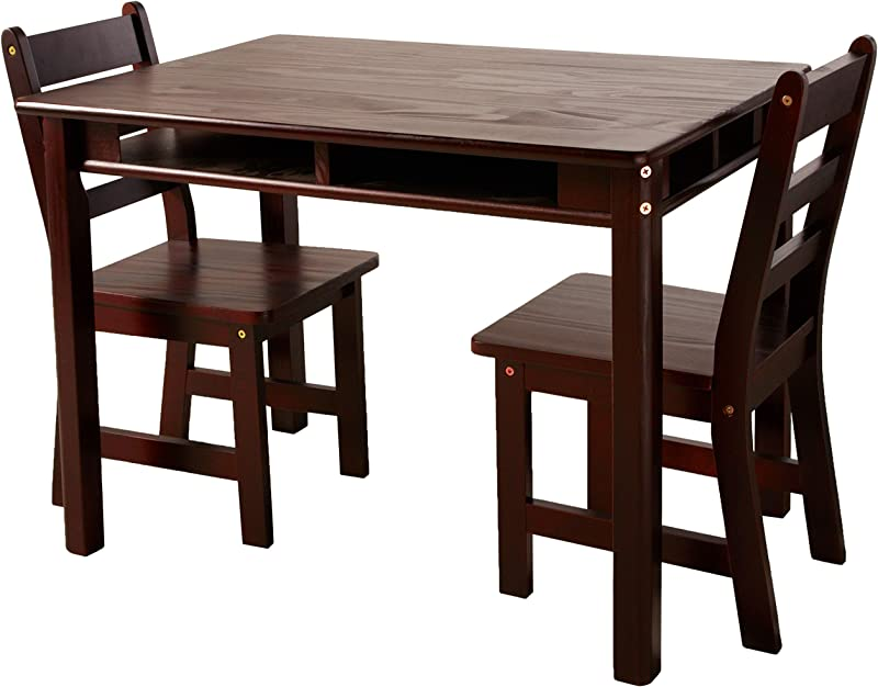 Lipper International 534E Child S Rectangular Table With Shelves And 2 Chairs Espresso Finish