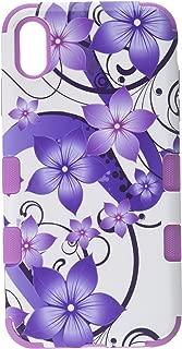 Mybat Apple-iPhone Xs Max Purple Hibiscus Flower Romance/Electric Purple TUFF Hybrid Phone Protector Cover [Military-Grade Certified] (Renewed)