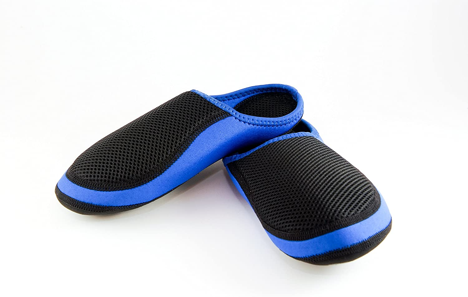 Nufoot Indoor Mens shoes Slipper Black Mesh Cushies, Royal, X-Large, 2 Count