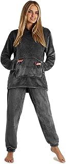 CityComfort Womens Pyjamas, Warm Fleece Hooded Pyjamas for Women Sets S-XL