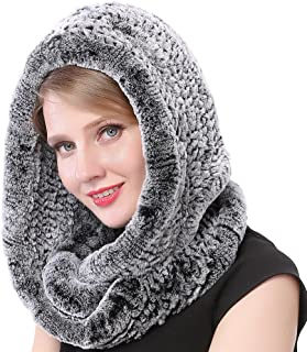 Winter Womens Knitted Real Rabbit Fur Hooded Scarf