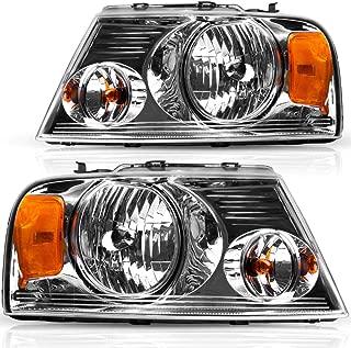 For 2004-2008 Ford F150 Headlights, 2006-2008 Lincoln Mark LT OEDRO Chrome Housing Amber Side Headlamp/light Set Clear Lens,2-Yr Warranty