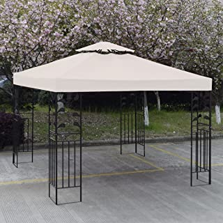 GH 10' X 10' Gazebo Replacement Canopy Top Cover - Beige, Double-teir
