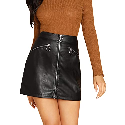 d4ae8461fc1 SheIn Women s Faux Leather O-Ring Zipper Front Bodycorn A Line Mini Skirt  Small Black