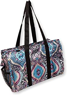 Fashion Print Zipper Top Organizing Beach Bag Tote Diaper Weekender - Can Be Personalized or Monogrammed (Turquoise Boho)
