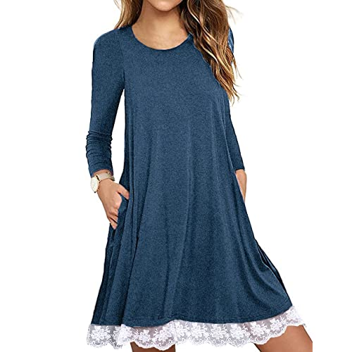 ad12292da0d Sanifer Women s Short Sleeve Lace Tunic Dress Plus Size Cotton T Shirt Dress  with Pockets