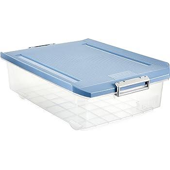 TATAY 1151207 - Caja de Almacenamiento Multiusos Bajo Cama con Tapa, 32 l de Capacidad, Plástico Polipropileno Libre de BPA, Azul, 40 x 56 x 17,5 cm: Amazon.es: Hogar