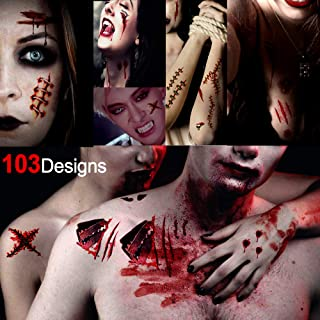 Konsait Halloween Zombie Scars Vampire Wounds Temporary Tattoos(103Dedigns), Fake Scab Bloody Scars Costume Makeup Sticker Transfers Tattoos for Adult Kids Halloween Horror Party Decoration
