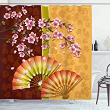 Ambesonne Floral Shower Curtain, Composition of Burgeoning Sakura Blooms Japanese Garden Art, Cloth Fabric Bathroom Decor Set with Hooks, 75 Long, Pink Marigold
