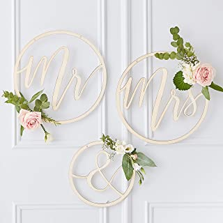 Ginger Ray Mr and Mrs Wooden Hoop 3-Pieces Pack