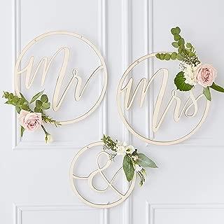 Ginger Ray Wooden Mr & Mrs Hanging Hoop Wedding Decoration Backdrop - Gold Wedding