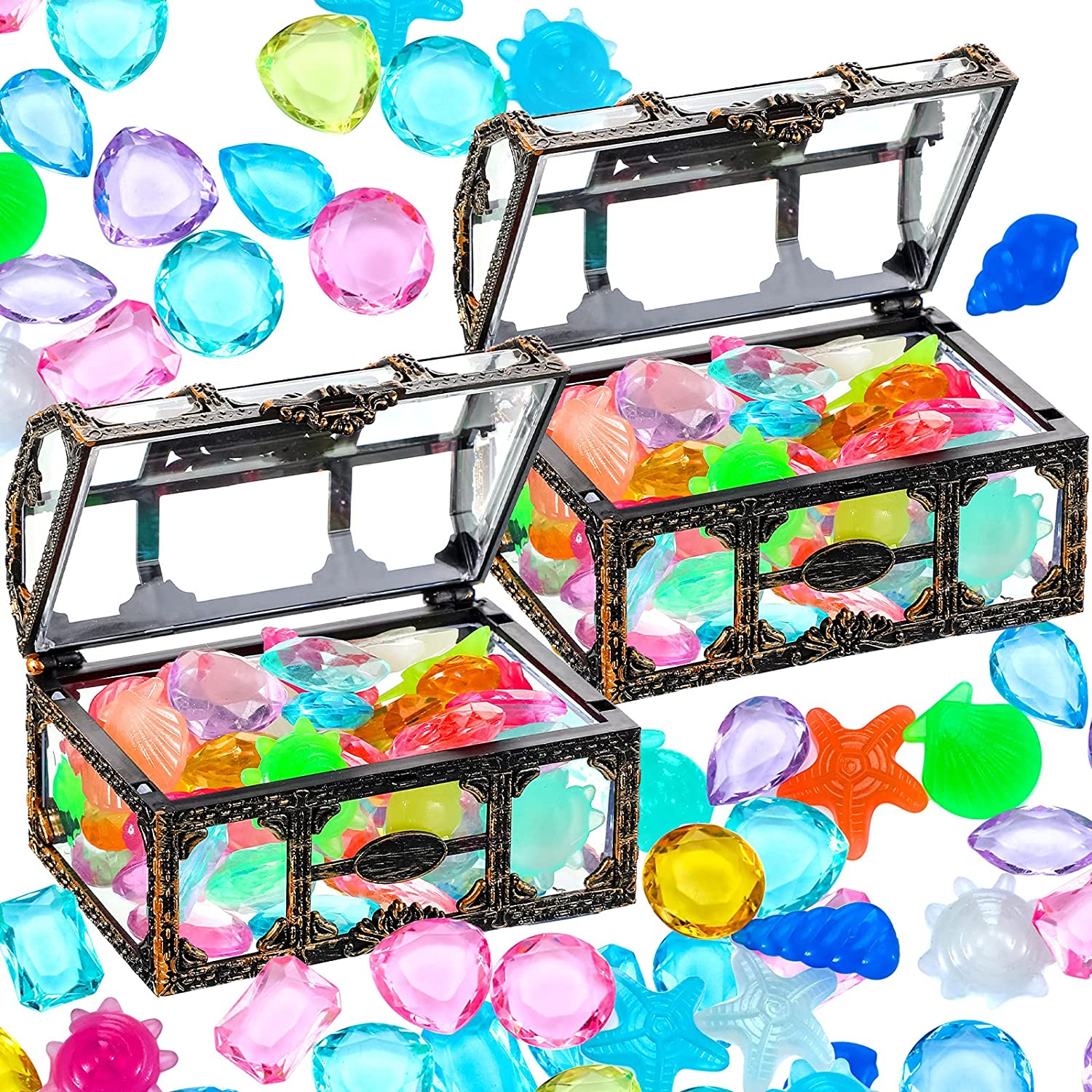 Dive Gem Pool Toys Pirate Gems Max 52% OFF Sinking Latest item Treasure Chest Colorful