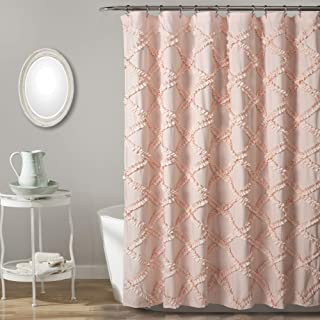 "Lush Decor Ruffle Diamond Shower Curtain | Textured Shabby Chic Farmhouse Style Design, x 72"", Blush"