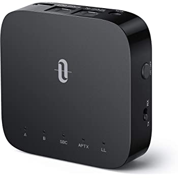 TaoTronics Bluetooth 5.0 Transmitter Receiver with Codec Display, aptX Low Latency Wireless Audio Adapter for TV Home Audio System (3.5mm AUX, RCA, SPDIF in/Out) Dual Link, 24hrs Play Time