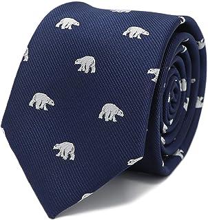 MENDEPOT Polar Bear Tie With Box White Polar Bear Pattern Navy Necktie