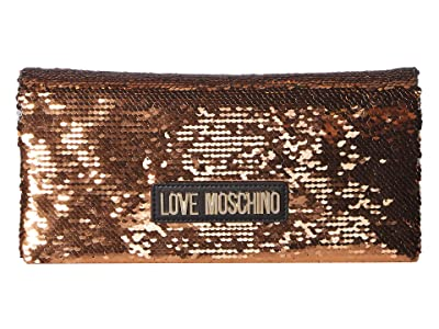 LOVE Moschino Glitter Clutch w/ Strap (Oro) Handbags