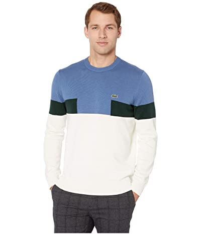 Lacoste Long Sleeve Color Block Cotton Sweater (Mascarpone/King/Sinople) Men