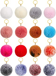 16 Pieces Pom Poms Keychains Fluffy Ball Pompoms Key Chain Faux Fur Colorful Pompoms Keyrings for Girls Women Hats Shoes B...