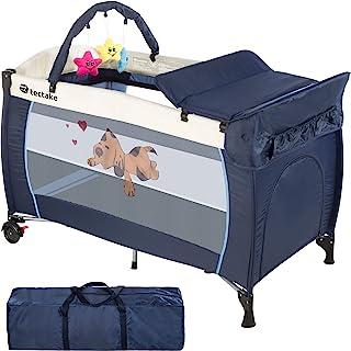 tectake Kinder Reisebett höhenverstellbar mit Wickelauflage - diverse Farben - Navy Blau | Nr. 400534