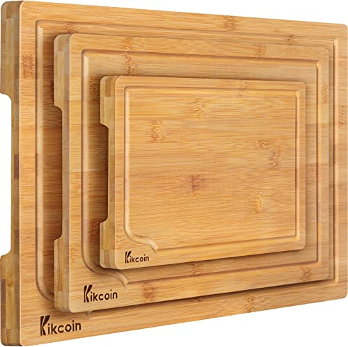 discount Bamboo Cutting Board, 3-Piece outlet online sale Kitchen Chopping Board with Juice Groove 2021 and Handles Heavy Duty Serving Tray Wood Butcher Block and Wooden Carving Board,Large,Kikcoin online