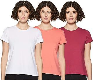 Amazon Brand - Symbol Women's Solid Regular Fit Half Sleeve T-Shirt