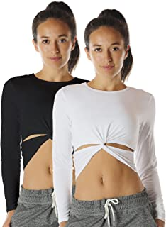 Long Sleeve Yoga Tops for Women - Workout Gym Running Exercise T Shirts(Pack of 2)