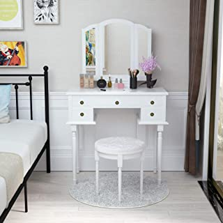 Mecor Vanity Table Set w/Tri-Folding Mirror,Wood Makeup Table and Round Stool & 5 Drawers Storage,Girls Women Bedroom Furniture Dressing Table (White)