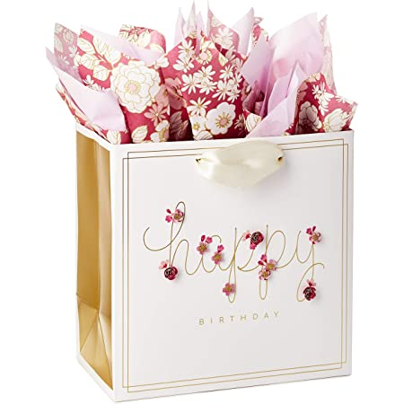 Pretty Pink MOM Mother Flowers 7 inch Gift Bag Pink ribbon built in handle