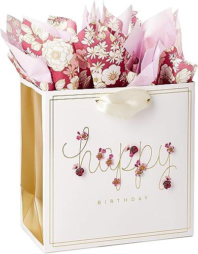 "Hallmark Signature 7"" Medium Birthday Gift Bag with Tissue Paper (Pink Flowers)"