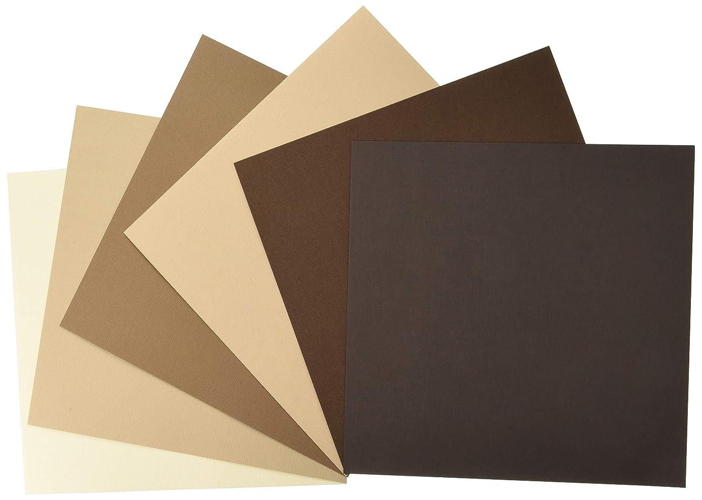 My Colors 210035 Brown Tones Canvas Cardstock Bundle (18 Pack), 12