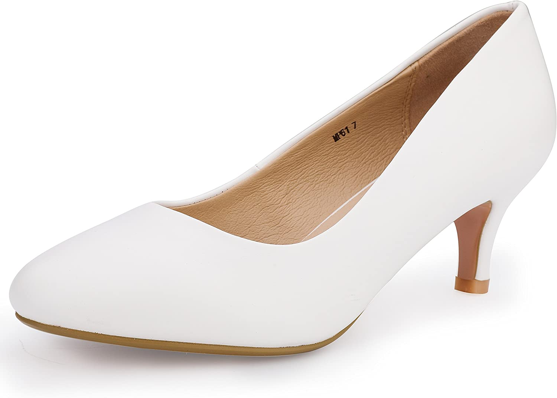 IDIFU Women's RO2 Basic Round Toe Mid Heel Pump shoes