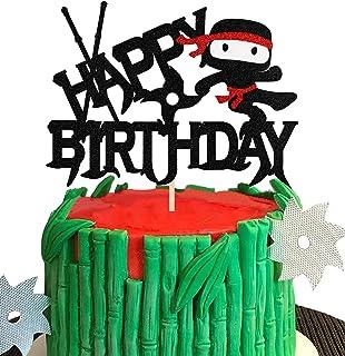 KAPOKKU Ninja Cartoon Cake Topper Happy Birthday Video Game Theme Decor for Baby Shower Birthday Boys Party Decorations Su...