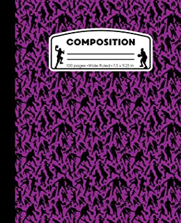 Composition: Basketball Purple Marble Composition Notebook. Sports Player Wide Ruled Book 7.5 x 9.25 in, 100 pages, journal for girls boys, kids, elementary school students and teachers