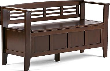 Simpli Home Adams SOLID WOOD 48 inch Wide Entryway Storage Bench with Safety Hinge, Multifunctional, Rustic, in Rustic Medium Brown