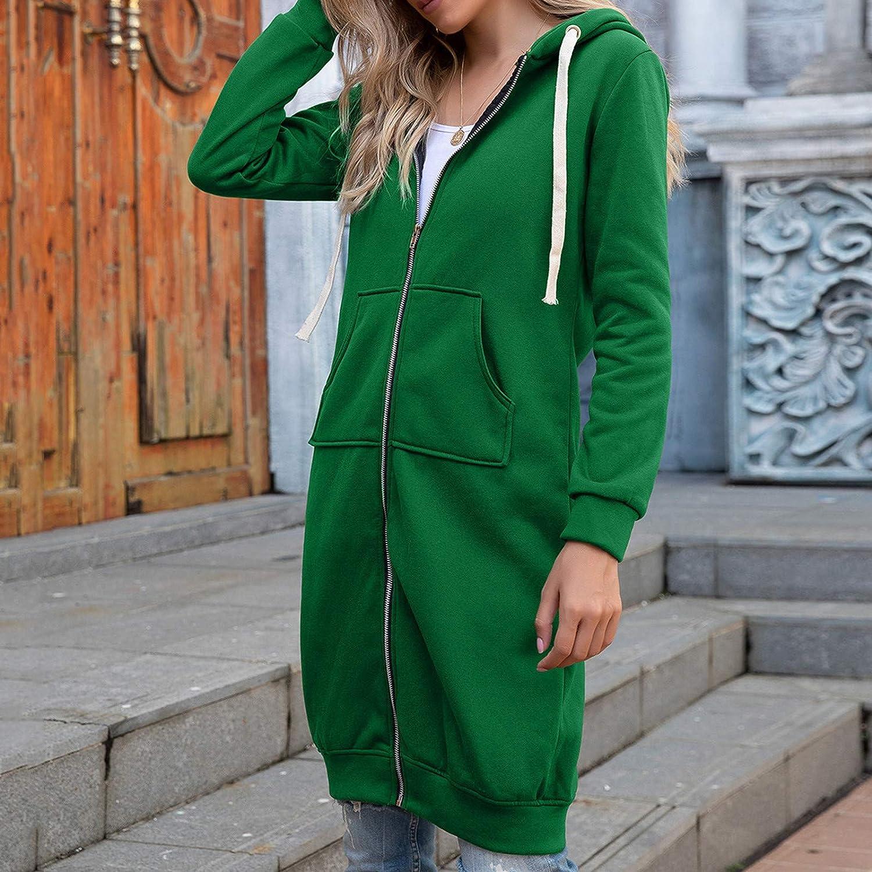 DAIFINEY Damen Mantel Jacke Langarm Strickjacke Cardigan Hoodie Jacke mit Kapuze Wintermantel Winterjacke schlanke Outwear winterwarmer Mantel Coat 1-grün/Green