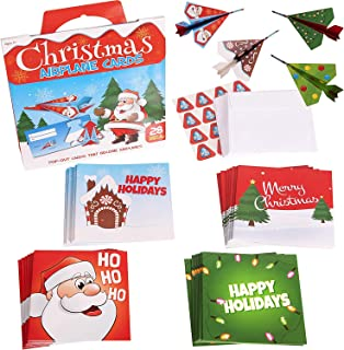 Narwhal Novelties Flying Paper Airplanes; (28-Count) Merry Christmas Cards For Kids
