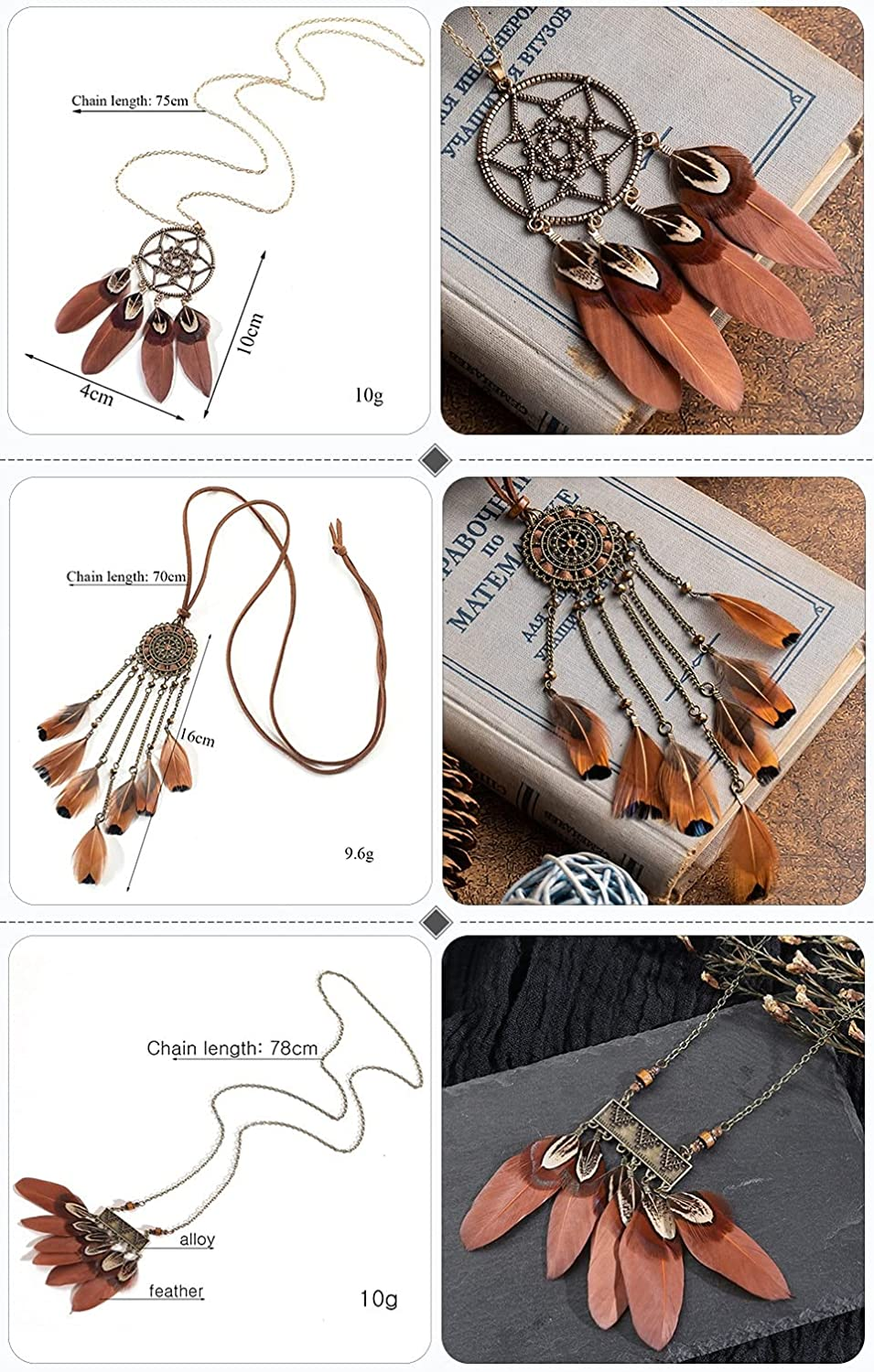 Feather Necklaces For Women Ethnic Long Black Brown Feather Leather Chain Necklaces for Women Girls Daughter Mom Vintage Dream Pendants Sweater Necklace Jewelry