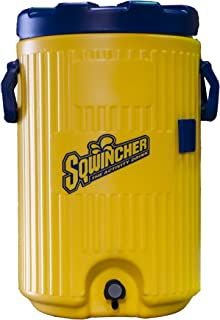 Sqwincher 400104 UV Resistant Safety Cooler with Pop Lid, 5 Gallon Capacity, Yellow/Blue