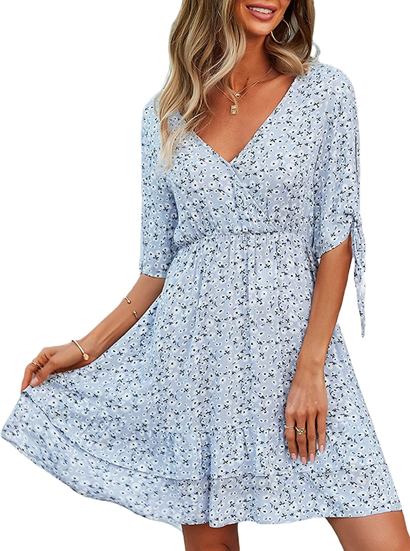 Women Fashion Floral Print Dress Short Sleeve V-Neck Tie-up Ruffles Casual Loose A-line Midi-Long Dress