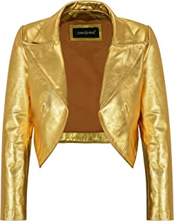 Carrie CH Hoxton Ladies Shinny Cropped Leather Shrug Slim-fit Short Body Jacket Bolero Style 5650