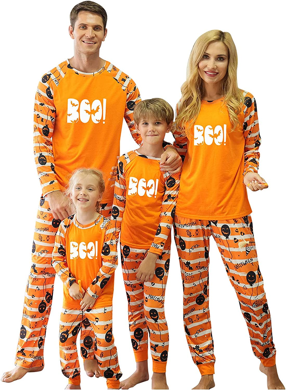Goldweather Halloween Family Matching Pajamas Set Luminous Print Long Sleeve T Shirts Tops+Stripe Pants Pjs Sleepwear Outfits