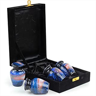 Nagina International Keepsake Urns for Human Ashes Set of 4 | Mini Funeral Cremation Pot with Velvet Box | Cremated Remain...