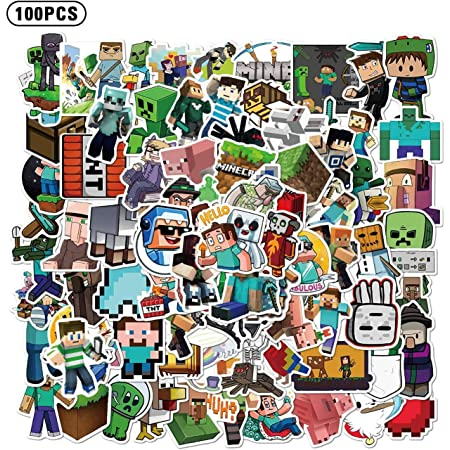 Minecraft Sticker Pack Phone Car Stickers and Decals Water Bottles Fancico Minecraft Sticker Pack of 50 Vinyl Waterproof Stickers for Laptop Protective Helmet Bumper Computer